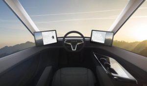 Вид изнутри электрической фуры Tesla Semi Truck